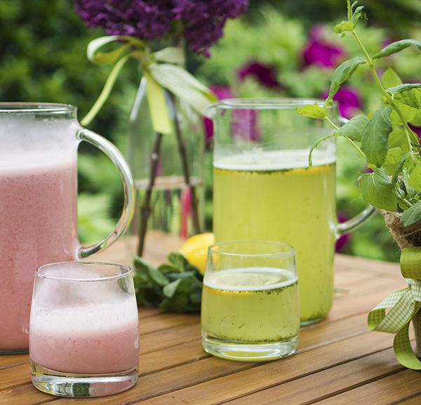 Lemonade and strawberry lassi, pitta dosha